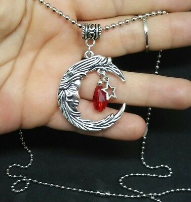 MOON GODDESS PENDANT STAR CHARM RED CRYSTAL NECKLACE Goddess Star Necklace