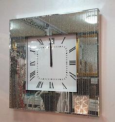 Modern Glitter Silver Lines Dots Mirrored Glass Square Wall Clock 50cm Silve 220