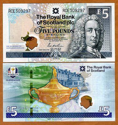 Scotland Royal Bank  5 Pounds  2014  P New  Hybrid Polymer Unc   Ryder Cup