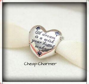 Genuine Pandora Silver Cinderella's Dream Wish Heart Disney Charm 791923ENMX