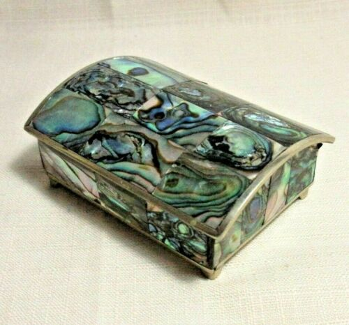 ALPACA MEXICO SILVER  ABALONE SHELL MOTHER OF PEARL TRINKET RING BOX HINGED LID