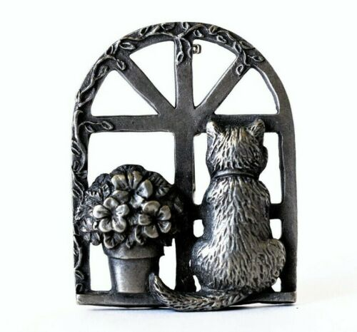 Signed Cat Pin Silver Pewter SP PWT USA Kitty at Window with Flower Pot