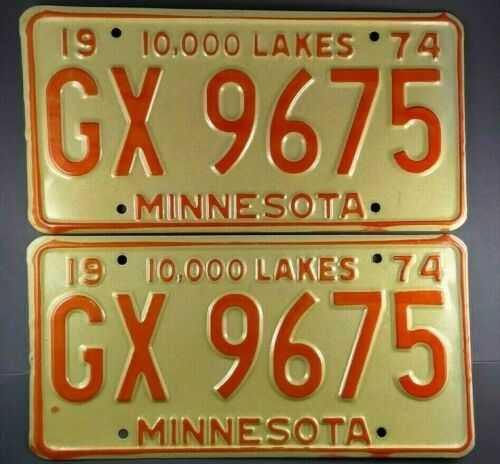 1974, 1975, 1976, 1977 Minnesota License Plate Pair Tags  # GX 9675  New-Old-Stk
