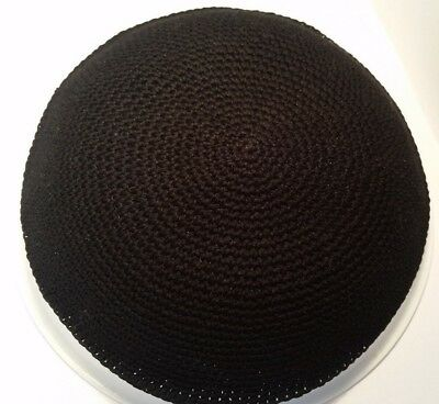 BIG Black Knitted Yarmulke Yamaka Kippah Kipot kipa hat jewish skull cap 22 cm