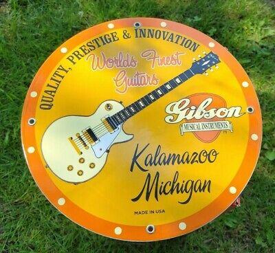 VINTAGE DATED '73 GIBSON GUITAR PORCELAIN ENAMEL MUSIC SIGN KALAMAZOO MICHIGAN