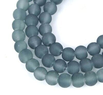 50 Czech Frosted Sea Glass Round / Rocaille Beads Matte - Montana Gray Blue 6mm