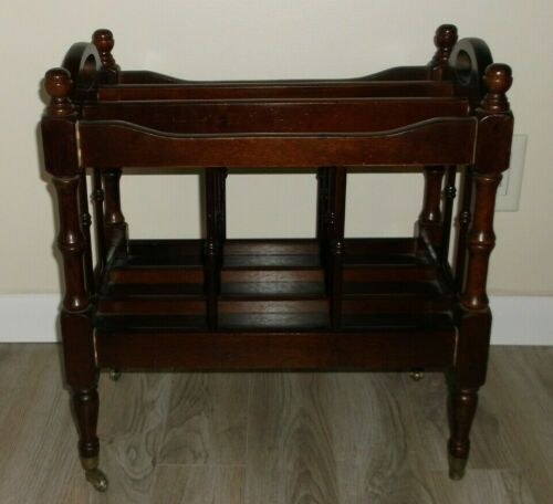 ANTIQUE ENGLISH CANTERBURY STYLE WOOD MAGAZINE STAND ON CASTERS