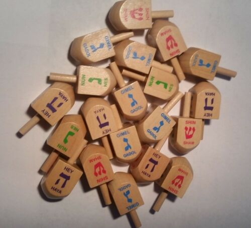 lot of 50 - Hanukkah Chanukah Dreidels Hard Wood Medium Sized in Bulk