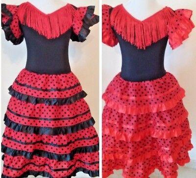 New Traditional Girls Red Flamenco Dance Dress - Flamenco Dance, Classes,