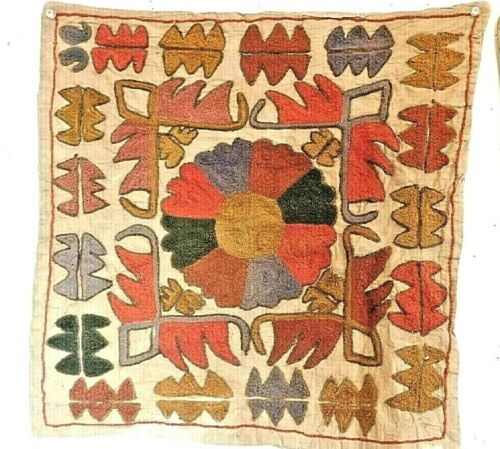 """3 embroidered pillow covers nomad tribal appr.18"""" x 18"""" cotton"""