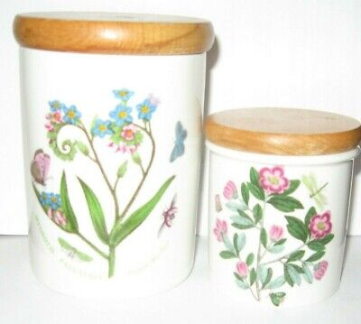 Portmeirion Botanic Garden Forget Me Not Rhodendrom Canister Wood Top Lot of 2