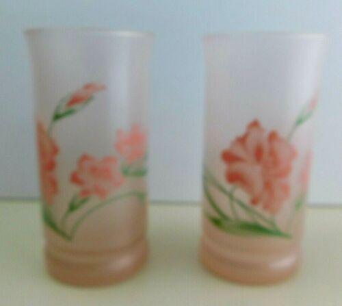 Tea GLASSES Set 2 Vintage Mid Century Pink Roses Tumblers