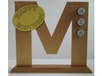 PERSONALISED STANDING BIRTHDAY initial 'M' in shimmering metallic GOLD