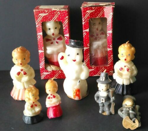 9 Item Lot Vintage Holiday Candles Gurley Emkay Frosty Snowman