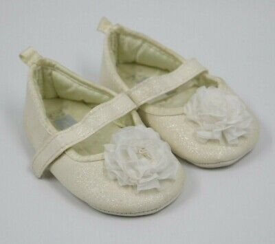 Carter's Baby Girl Ivory Glitter Flower Mary Jane Shoes Size 3