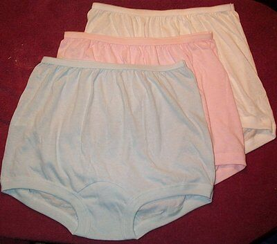 3 Pair 100% COTTON  BAND LEG PANTY Size 8 in Assorted Pastels   USA Made
