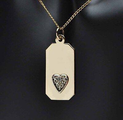 14k Solid Yellow Gold Diamond Heart Dog Tag Pendant