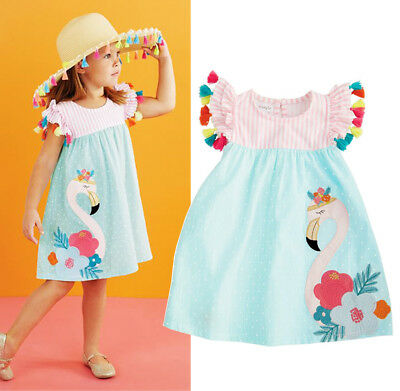 Hot Toddler Kids Girls Flamingo Summer Casual Party Dress Sundres Clothes 1-6T - Hot Girl Kids