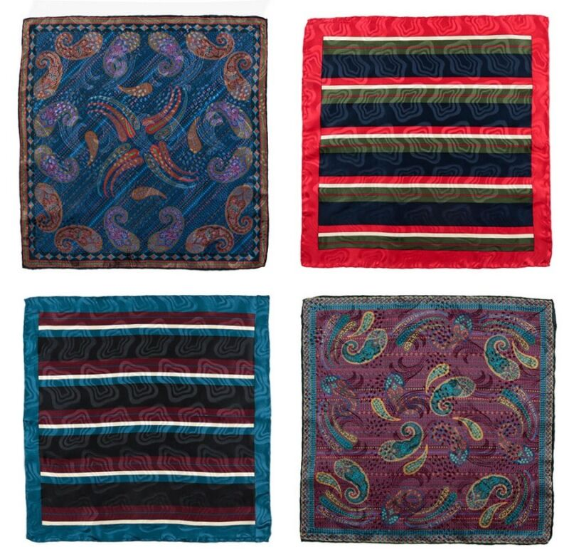 Mens SANTOSTEFANO Lot of 4 Paisley Striped 100% Woven Silk Handkerchief