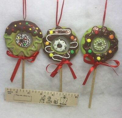 Doughnut Lollipop Christmas Tree Ornaments, sweets, candy