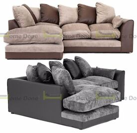 **14-DAY MONEY BACK GUARANTEE!** Dylan Chenille Fabric Corner Sofa Suite **FREE UK DELIVERY**