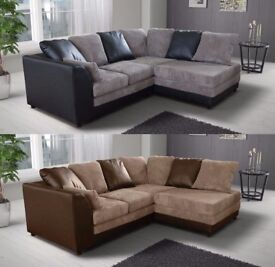 **14-DAY MONEY BACK GUARANTEE!** Banson Cord Fabric Corner Sofa Suite - SAME DAY!