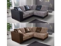 **14-DAY MONEY BACK GUARANTEE!** Banson Cord Fabric Corner Sofa Suite - SAME DAY!