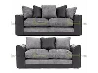**7-DAY MONEY BACK GUARANTEE!** Dylan Chenille Fabric 3 and 2 Sofa Set or Corner Sofa - SAME DAY!