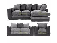 **7-DAY MONEY BACK GUARANTEE!** Dylan Chenille Fabric Corner Sofa or 3 and 2 and Armchair available