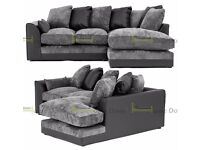 **7-DAY MONEY BACK GUARANTEE!*Aruba Chenille Fabric Corner Sofa or 3 and 2 Set - SAME DAY DELIVERY!