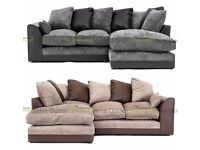 **14-DAY MONEY BACK GUARANTEE!** Dylan Chenille Fabric Corner Sofa Suite - SAME DAY!