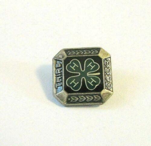 "Vintage Antique Engraved Square Silver Tone 4H Lapel Pin ""Third"""