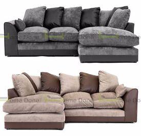 **7-DAY MONEY BACK GUARANTEE!** Aruba Chenille Fabric Corner Sofa or 3 and 2 Sofa Set - SAME DAY!