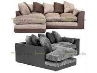 **7-DAY MONEY BACK GUARANTEE!** Aruba Luxury Chenille Fabric Corner Sofa Suite - SAME DAY DELIVERY!