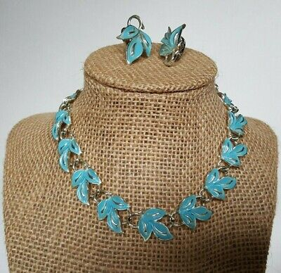 - CORO Necklace and Clip On Earrings Silver Tone Light Blue Enamel Vintage