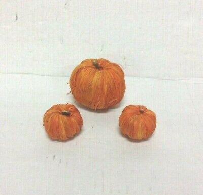 3 Fall Miniature Raffia Pumpkins Orange Decorations Halloween Thanksgiving