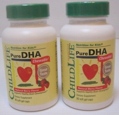 (2) ChildLife Pure DHA Chewable - Natural Berry Flavor for Kid, 90 Soft Gel Caps