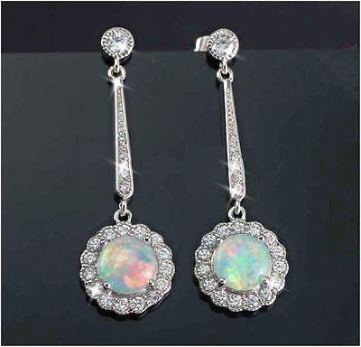 Gold Diamond Created Opal Earrings - Created Opal Diamond Alternatives Dangle Earrings 14k White Gold over 925 SS