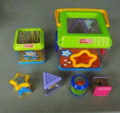 Fisher Price Baby Toddler Peek A Blocks Musical Shape Sorter Cube Bucket -