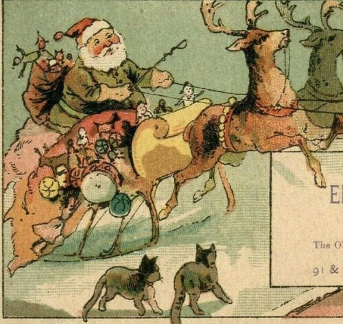 c1900 Green Santa Suit Reindeer Sleigh Cats Quack ELECTRIC CHAIR Trade Card 4729