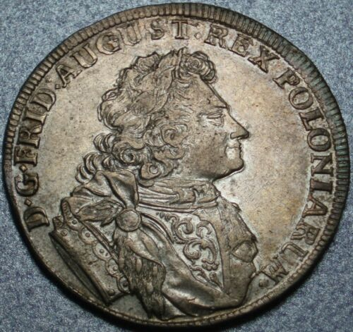 1707 SAXONY & POLAND Choice 2/3 THALER Augustus THE STRONG Ex SACCONE Collection