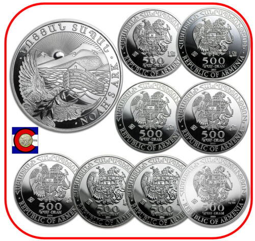 2012-2019 Armenia Noah's Ark 8-1 oz Silver Coins in capsules