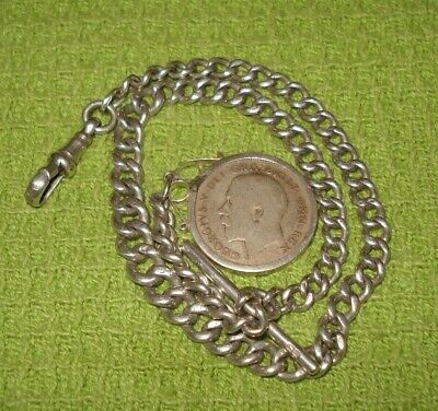 ANTIQUE SOLID SILVER ALBERT GRADUATED LINK WATCH CHAIN *1921 SHILLING COIN FOB*