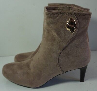 Impo Taupe Fabric Faux Suede High Heel Ankle Boots Womans 7.5 Noreen
