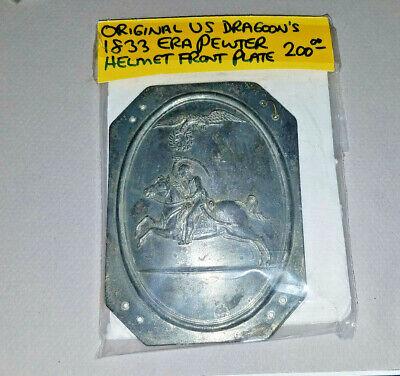Original US Dragoon's 1833 Era Pewter Helmet Front Plate