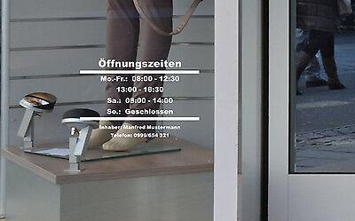 Öffnungszeiten Aufkleber rahmenlos Schild Tür Schaufenster Laden Geschäftszeiten