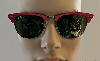RED LUCITE SWIRL RAY-BAN 3016 Vtg CLUBMASTER G-15 CATEYE SUNGLASSES (Ray Ban Retro Cat Eye Sunglasses)