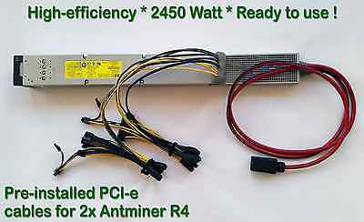 Power Supply for Two (x2) Antminer R4 + Complete PCI-e Wiring Installed