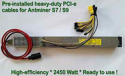 Power Supply for Antminer S9 / T9 / S7 / L3+ w. Complete PCI-e Wiring Installed