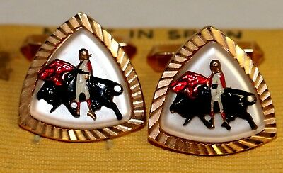 Vintage Spanish MATADOR Bull Fighter CUFF LINKS Gold Tone~Made in Spain](Male Spanish Costume)